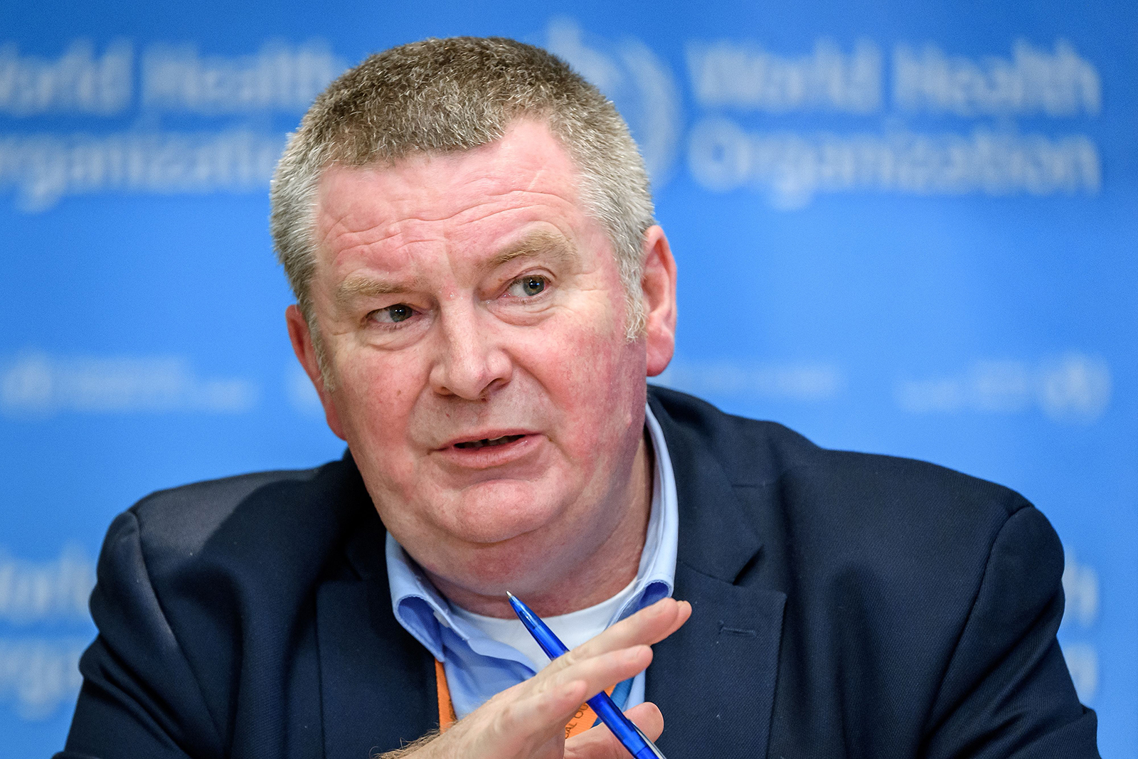 World Health Organization health emergencies program executive director Michael Ryan talks during a press briefing at the WHO headquarters in Geneva on March 11.