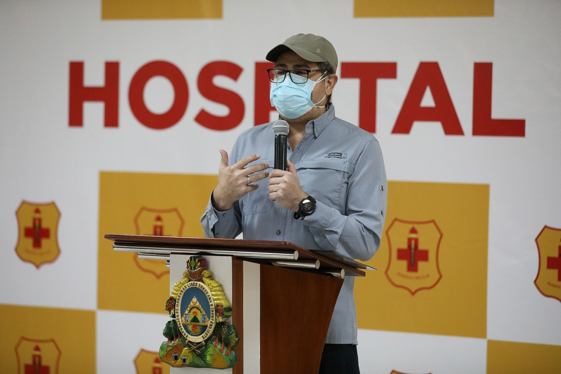 Honduras' President Juan Orlando Hernandez delivers a speech whilst being discharged from hospital after contracting the coronavirus disease at the Military Hospital in Tegucigalpa, Honduras, on July 2.