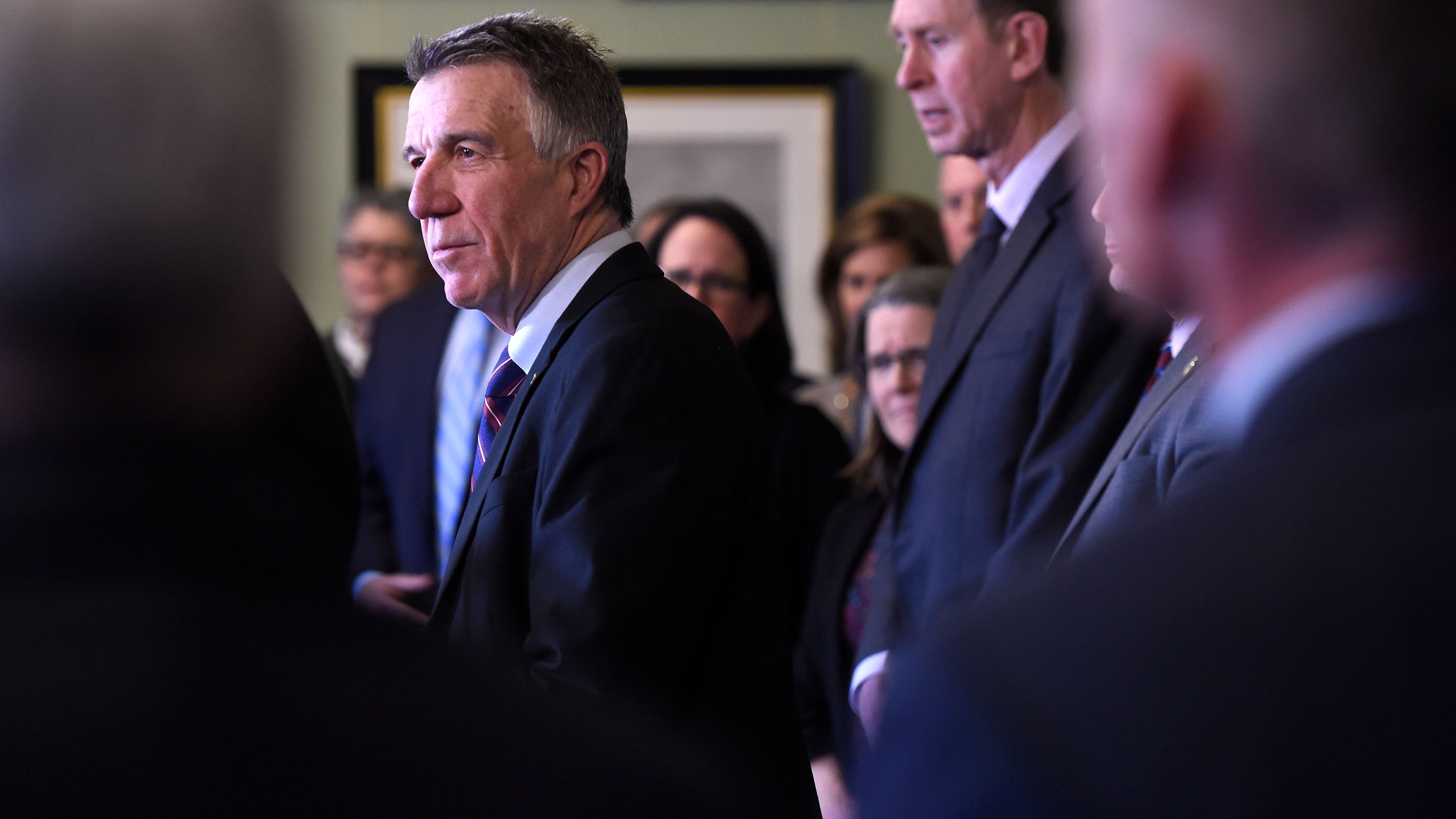 Vermont Gov. Phil Scott announces a state of emergency for Vermont on March 13 in Montpelier.