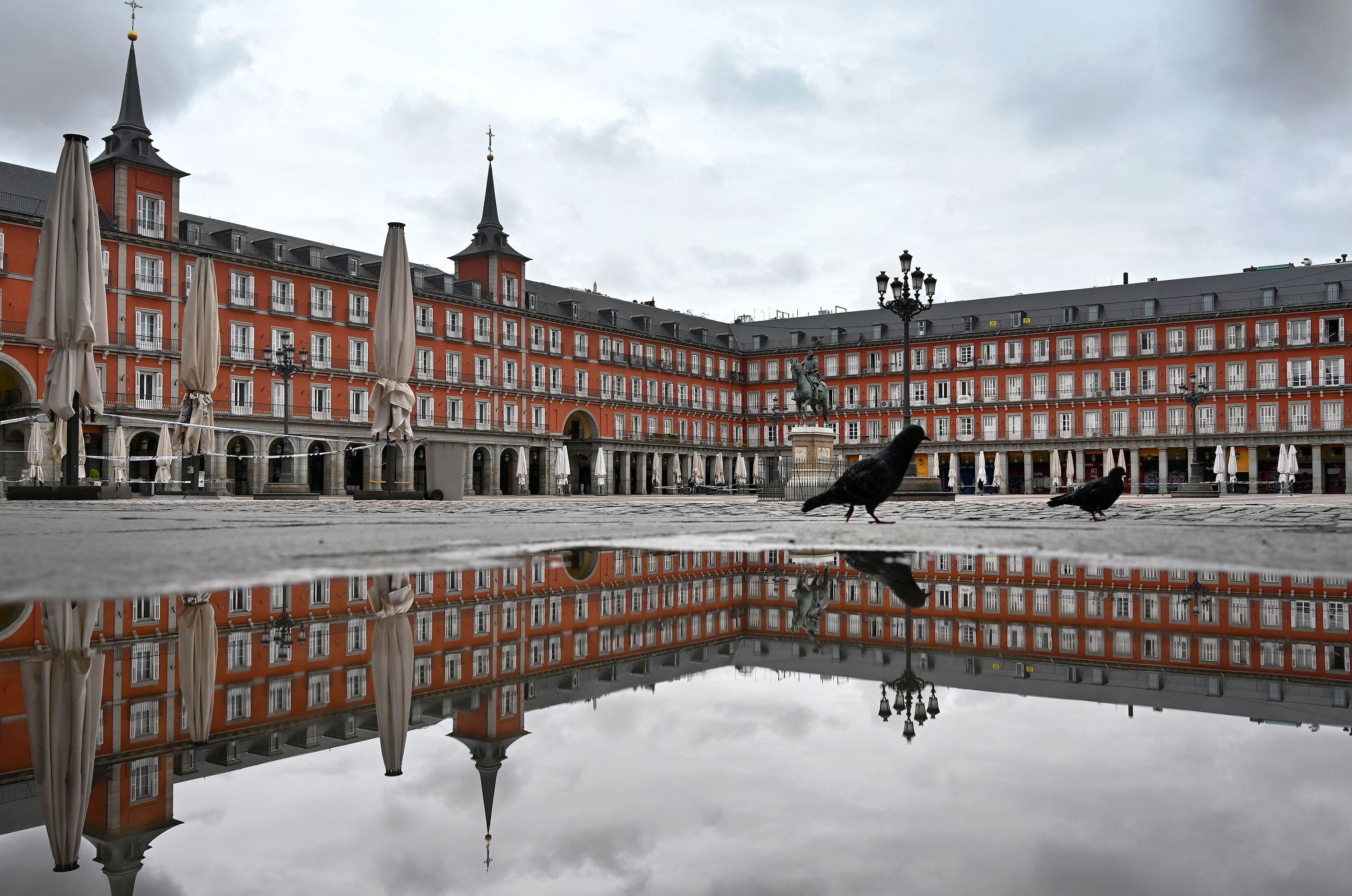 The Plaza Mayor in Madrid, Spain is seen deserted on April 21.