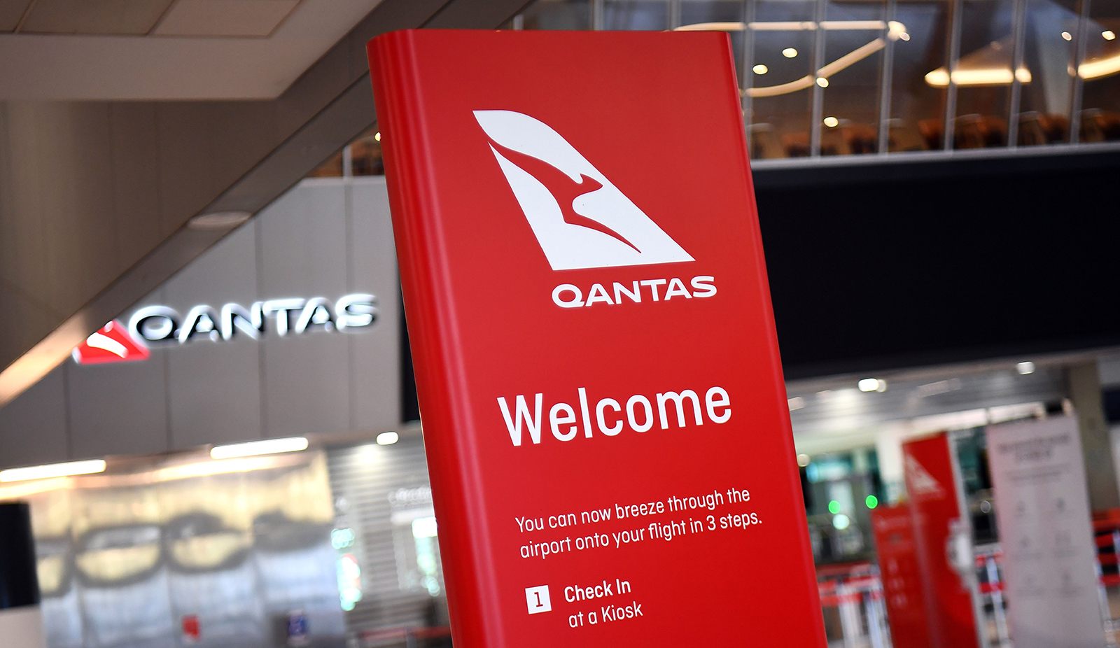 A general view shows the empty Qantas departure terminal at Melbourne Airport in Australia, on August 20.