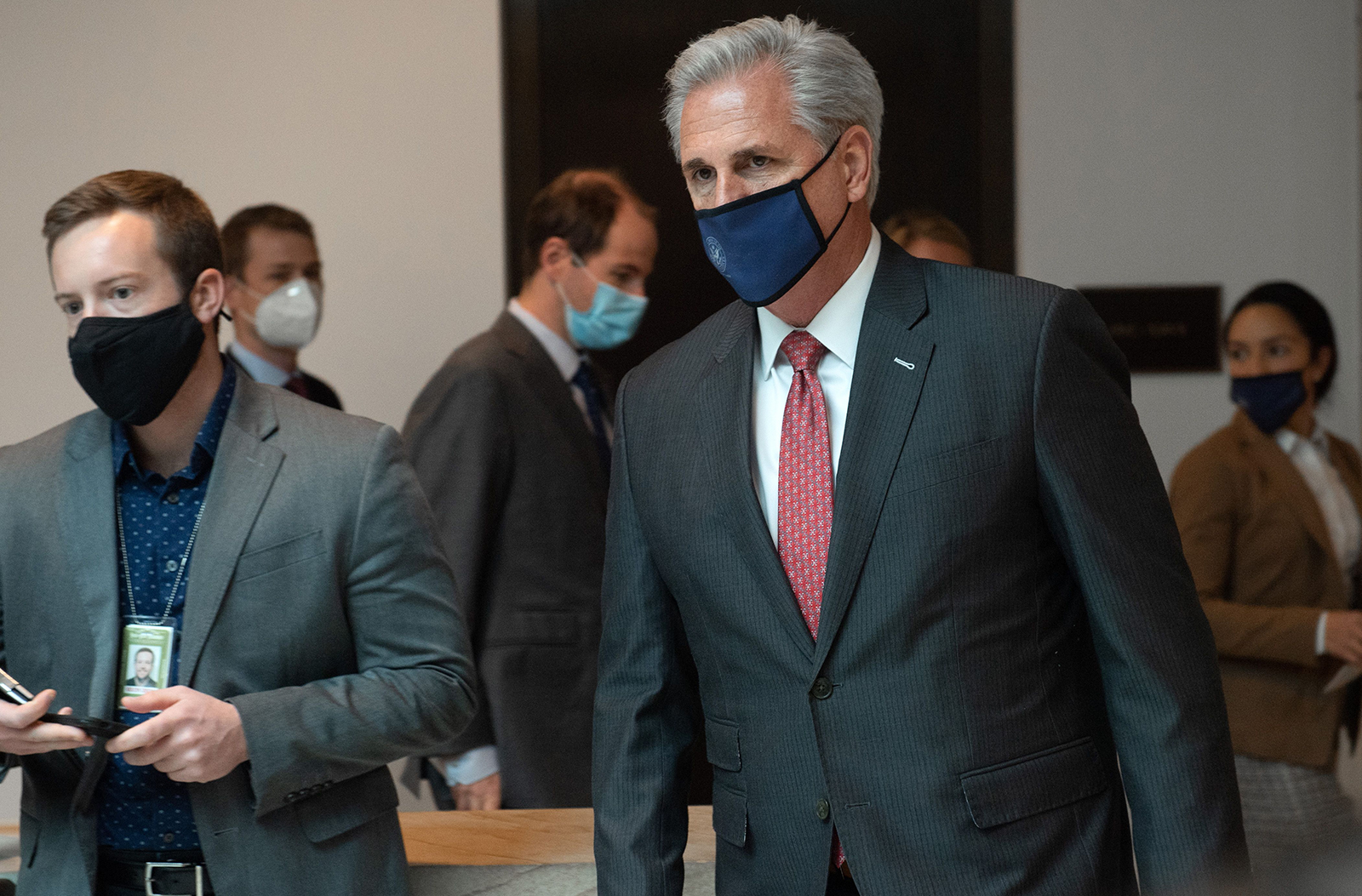 House Minority Leader Kevin McCarthy arrives for a meeting on Capitol Hill in Washington, DC on December 18, 2020.