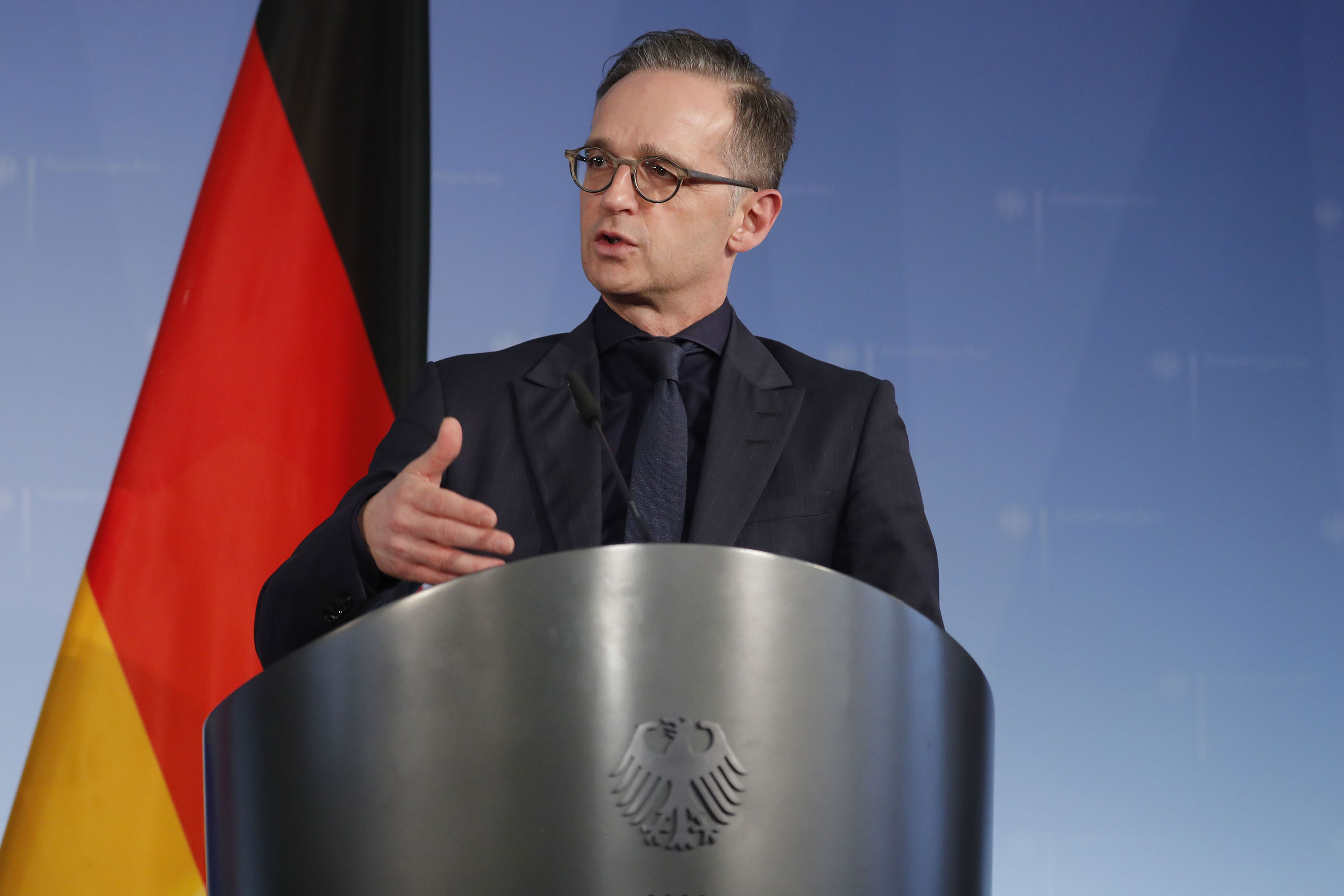 German Foreign Minister Heiko Maas speaks during a press conference in Berlin on March 4.