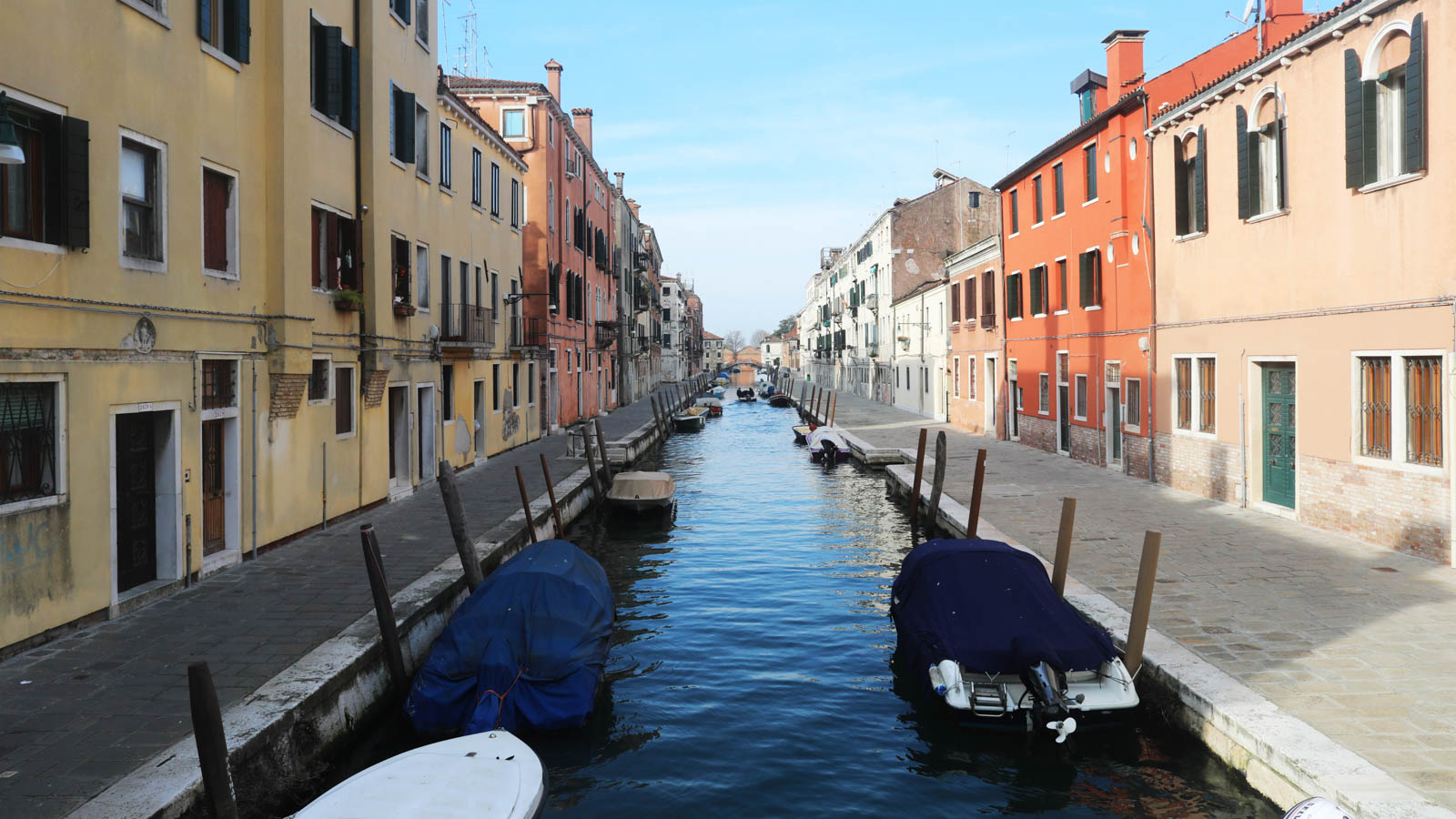 A canal and walkways are seen empty on March 9 in Venice, Italy.
