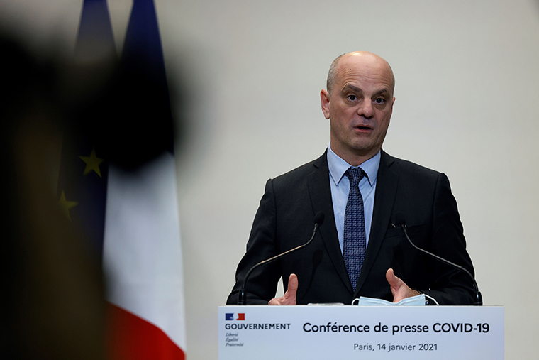 Blanquer speaks during a press conference in Paris on Thursday, January 14, on the current French government strategy for the ongoing coronavirus epidemic. (