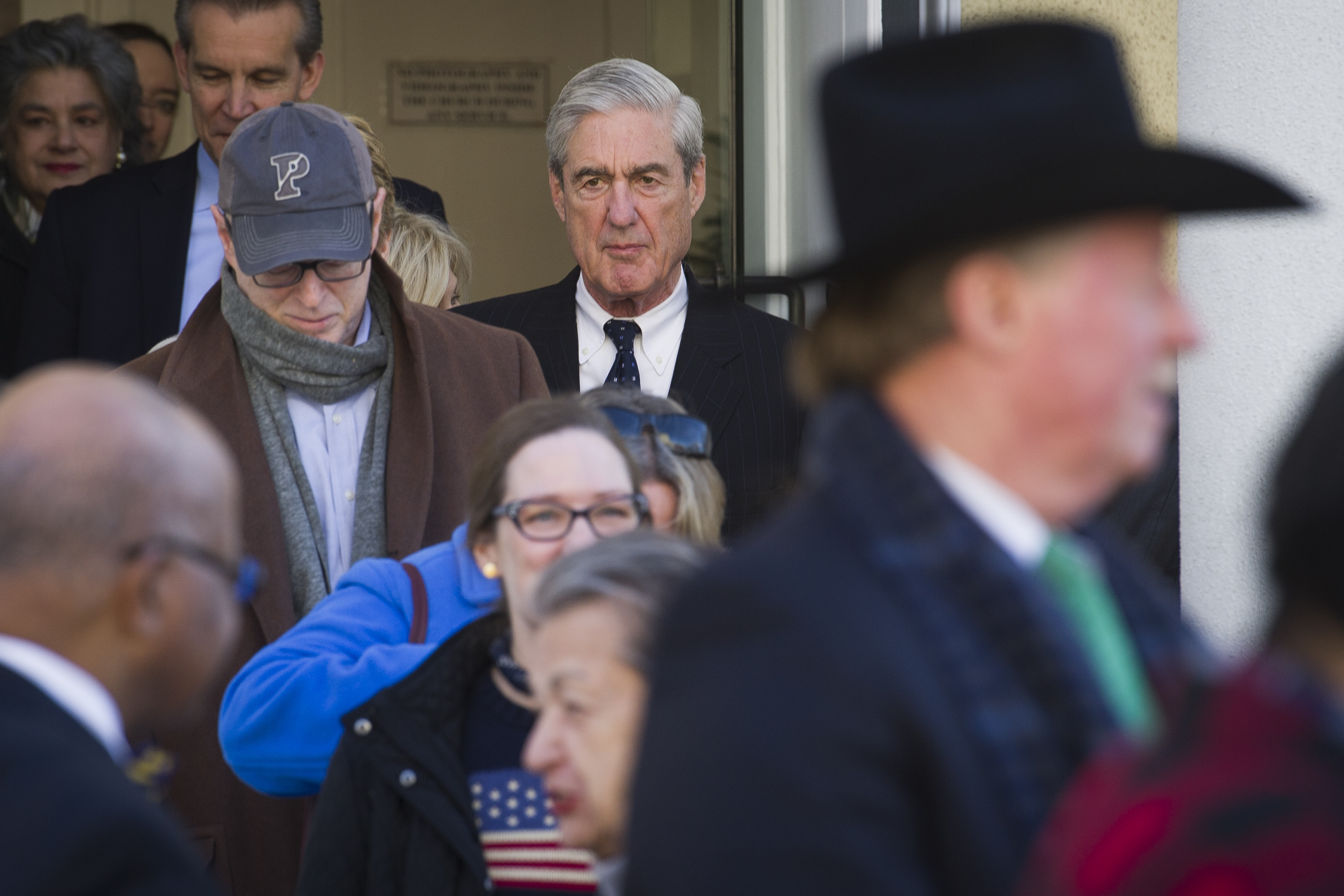 Special Counsel Robert Mueller exits St. John's Episcopal Church after attending services, across from the White House, in Washington, Sunday.