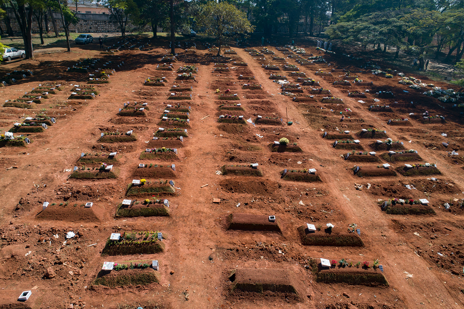 Graves cover an area of the Vila Formosa cemetery amid the new coronavirus pandemic in Sao Paulo, Brazil, on Thursday, August 6.