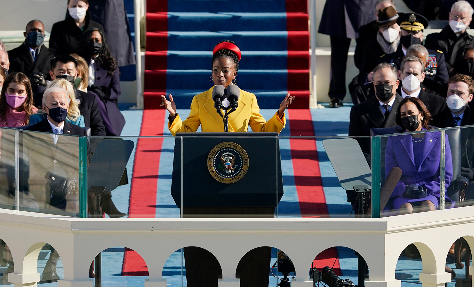 National youth poet laureate Amanda Gorman recites her inaugural poem during the 59th Presidential Inauguration at the US Capitol in Washington, DC, on January 20.