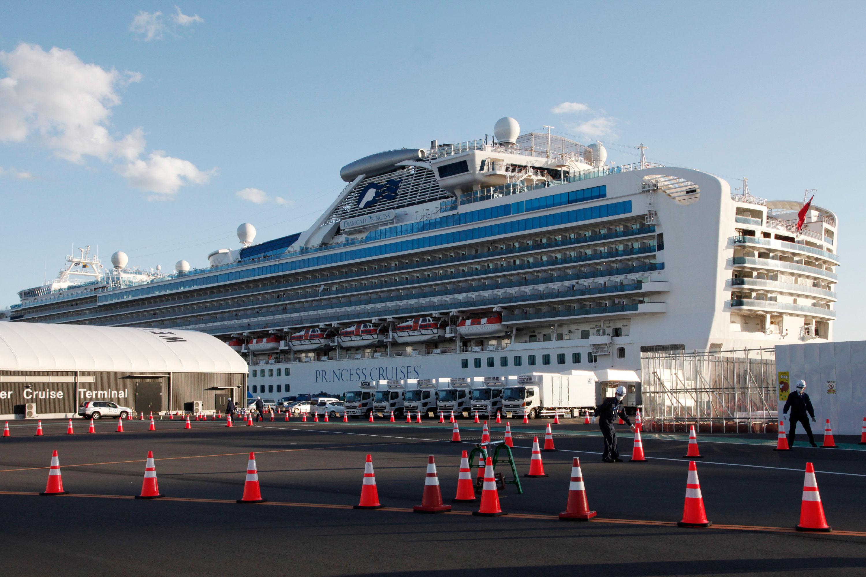 The quarantined Diamond Princess cruise ship is anchored in Yokohama, Japan, on Tuesday.
