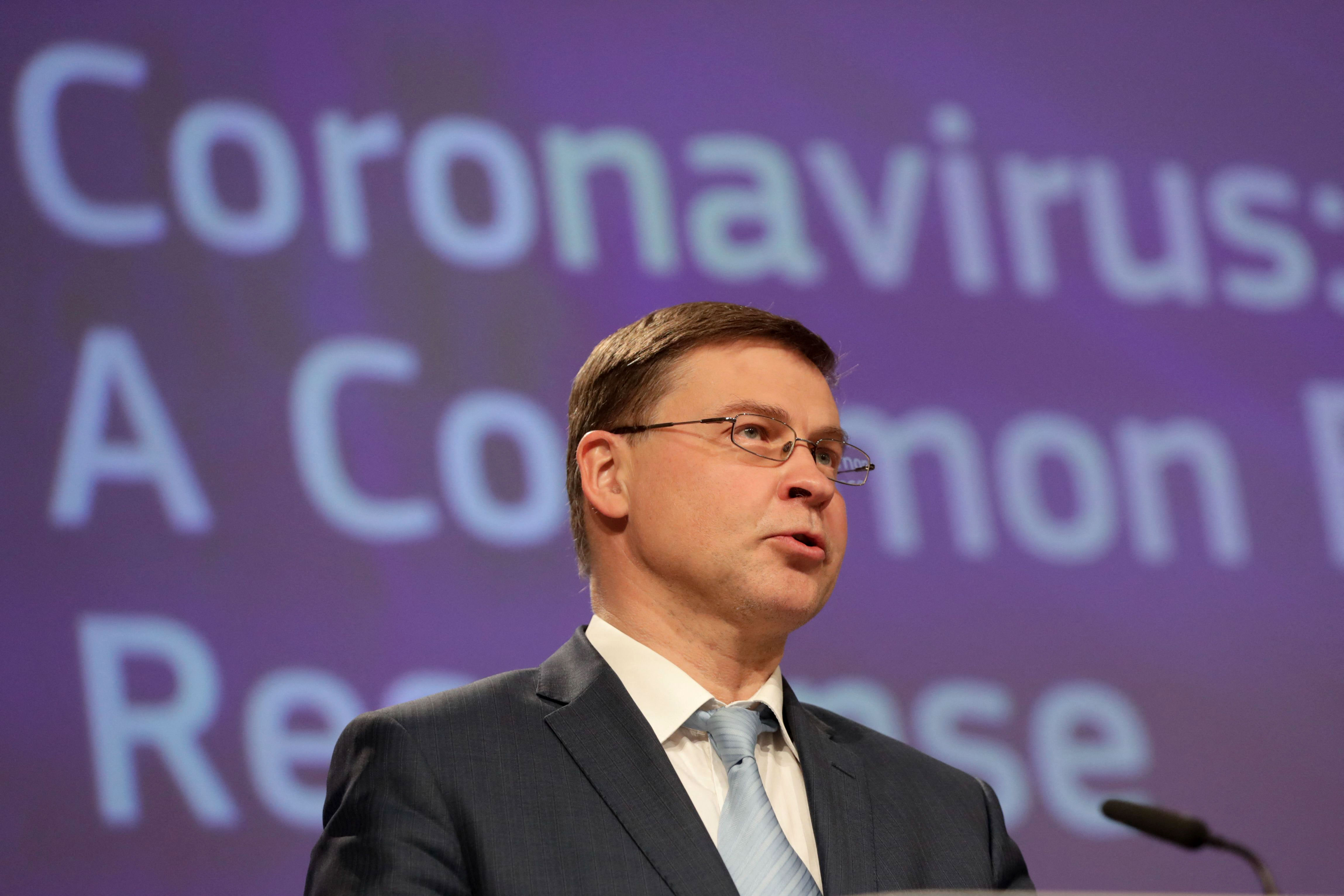 EU Commission Vice President Valdis Dombrovskis speaks at a press conference in Brussels, Belgium, on March 24.