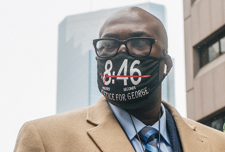 Philonise Floyd, brother of George Floyd, walks towards a security entrance at the Hennepin County Government Center on April 9, in Minneapolis, Minnesota.