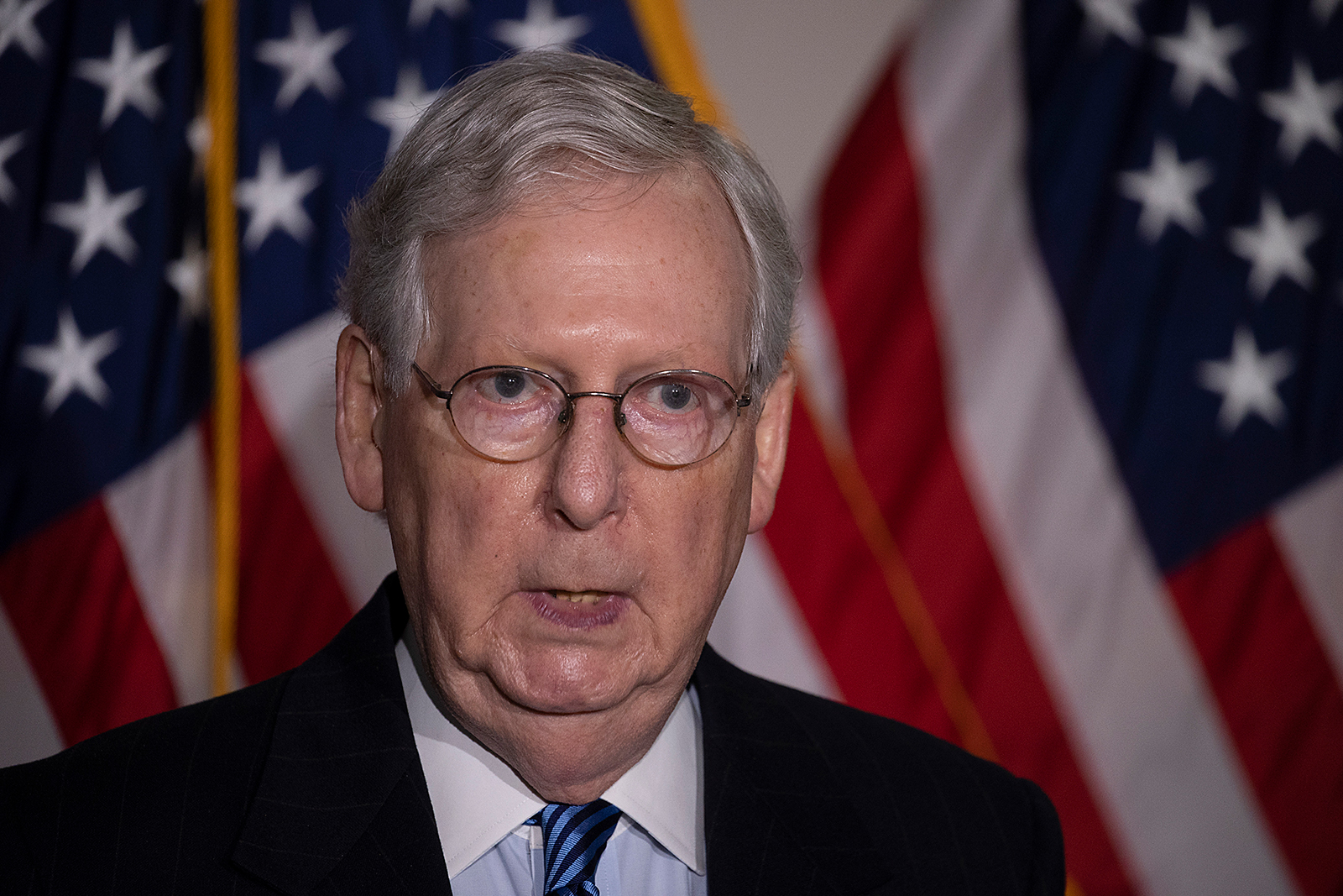 Senate Majority Leader Mitch McConnell speaks to the media after the weekly policy luncheons at the US Capitol in Washington, DC, on November 10.
