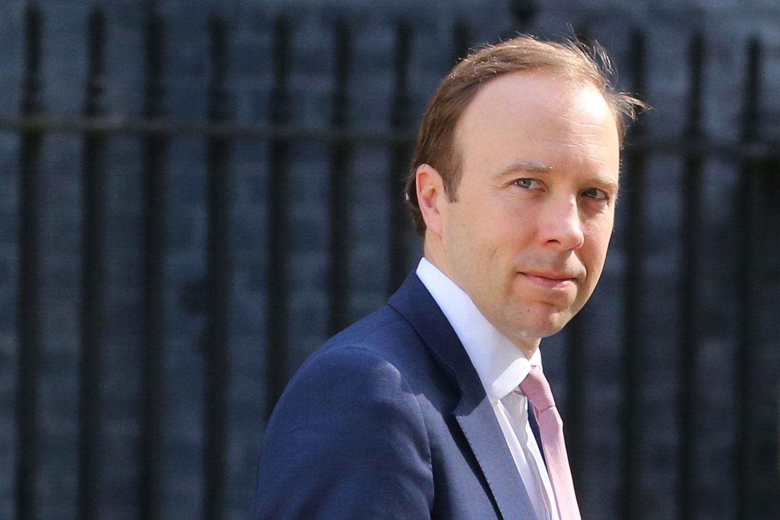 Britain's Health Secretary Matt Hancock leaves Downing street on May 27 in London.