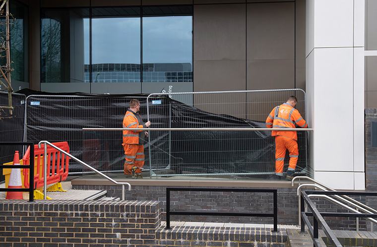 Planet Ice in Milton Keynes, where work has begun to turn the ice rink into a temporary mortuary capable of holding hundreds of bodies on Wednesday April 1.