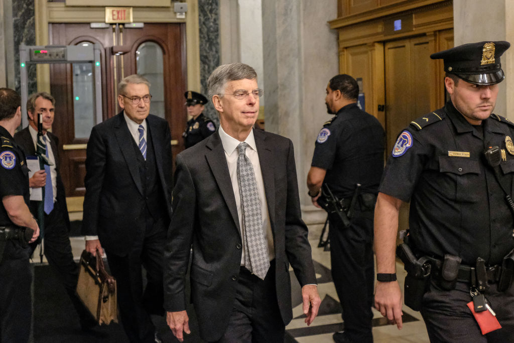 Bill Taylor, the top U.S. Diplomat to Ukraine, leaves Capitol Hill on October 22, 2019 in Washington, DC.