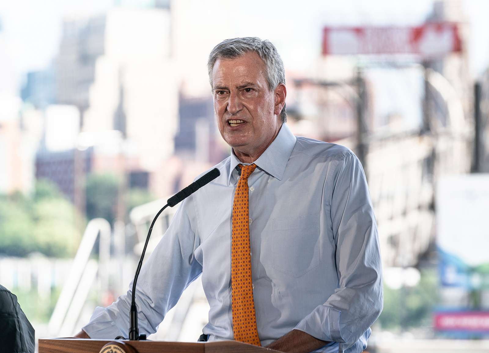 New York City Mayor Bill de Blasio speaks at a press conference at the South Street Seaport about city preparations for tropical storm Isaias on Monday, August 3.