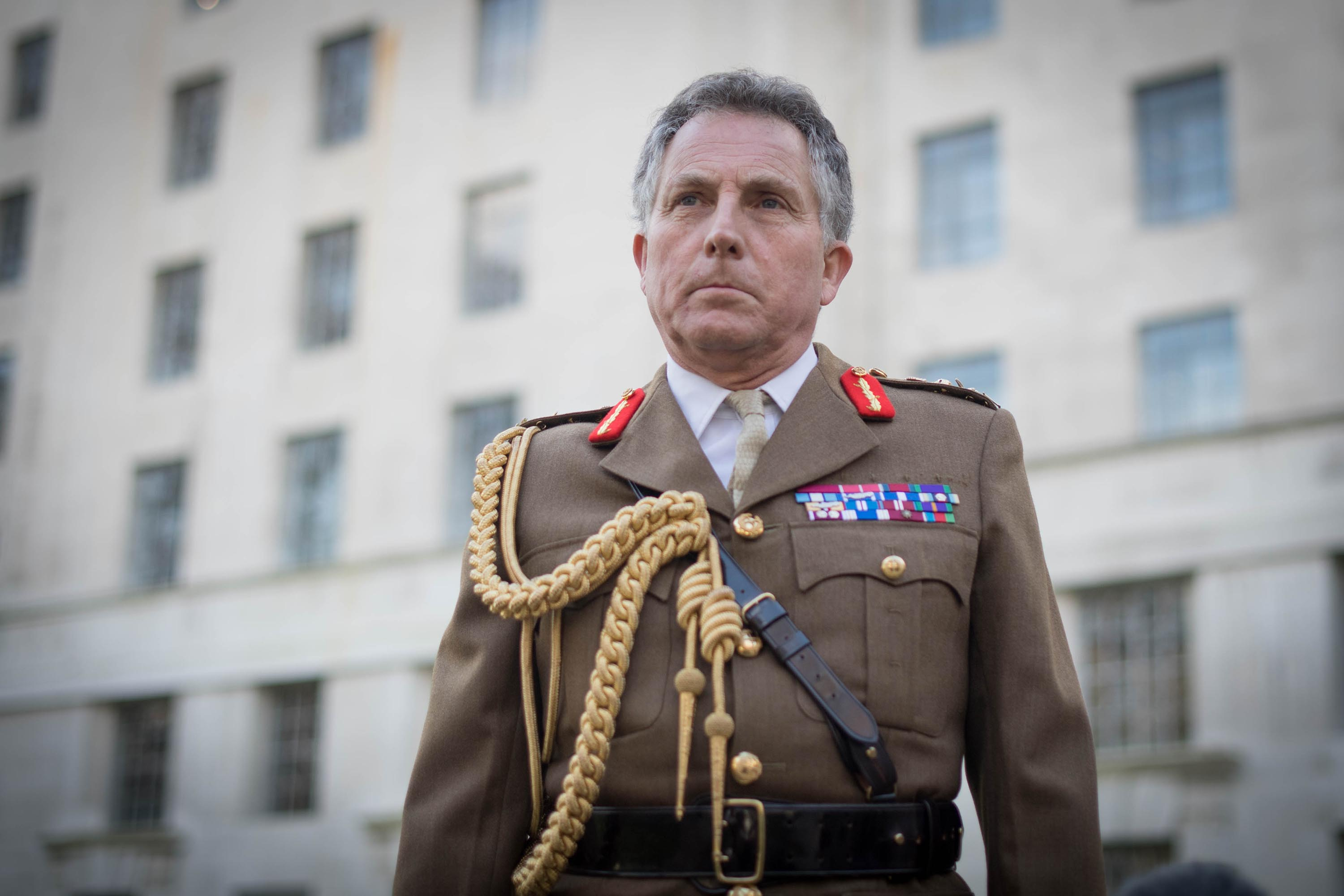 British Chief of Defence Staff Nick Carter is pictured outside the Ministry of Defence headquarters in London, in November 2020.