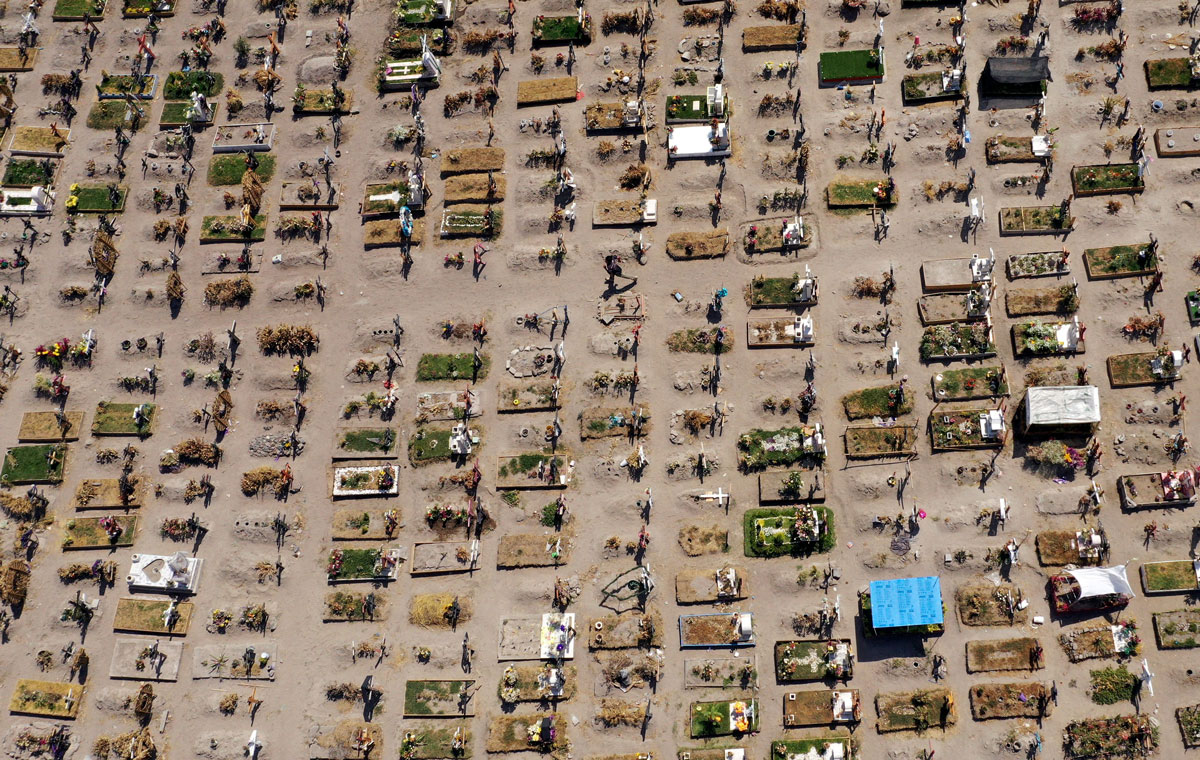 Aerial view of graves at a special area designated for Covid-19 victims, at the Municipal Pantheon of Valle de Chalco in Mexico, on March 26.