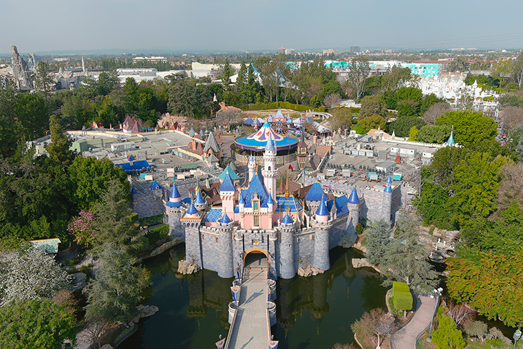 An aerial view of Sleeping Beauty Castle at Disneyland Park, Wednesday, February 10, in Anaheim, California.