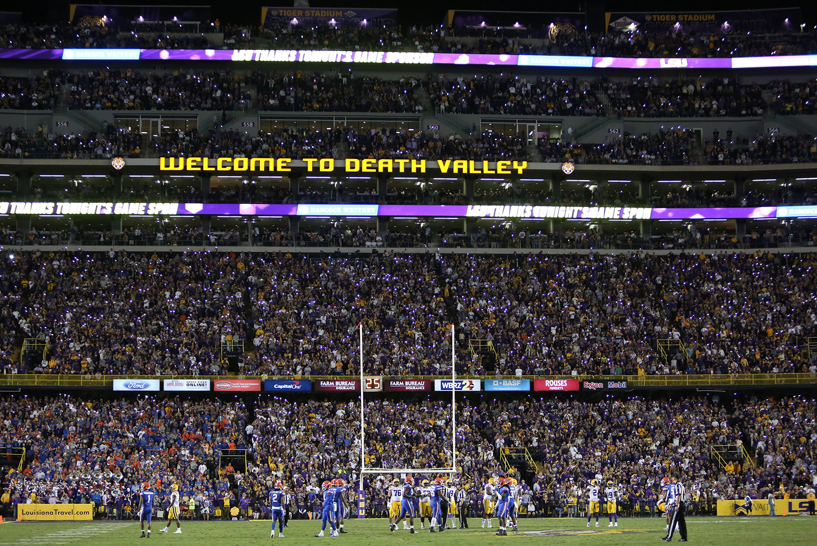 In this October 12, 2019 file photo, LSU fans are seeing during a game against the Florida Gators at Tiger Stadium in Baton Rouge, Louisiana.