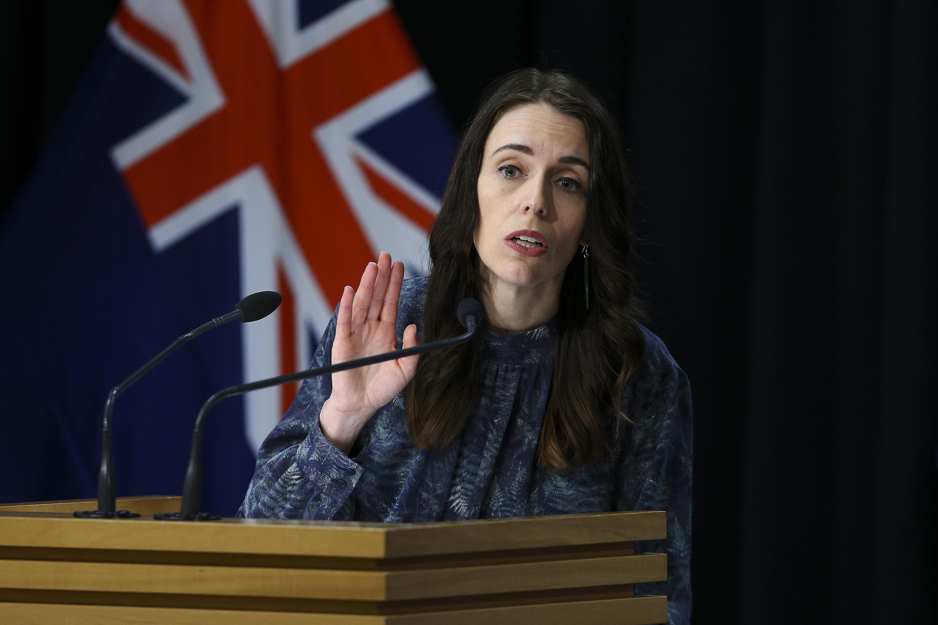 New Zealand Prime Minister Jacinda Ardern speaks to media during a press conference at Parliament on August 21, in Wellington, New Zealand.