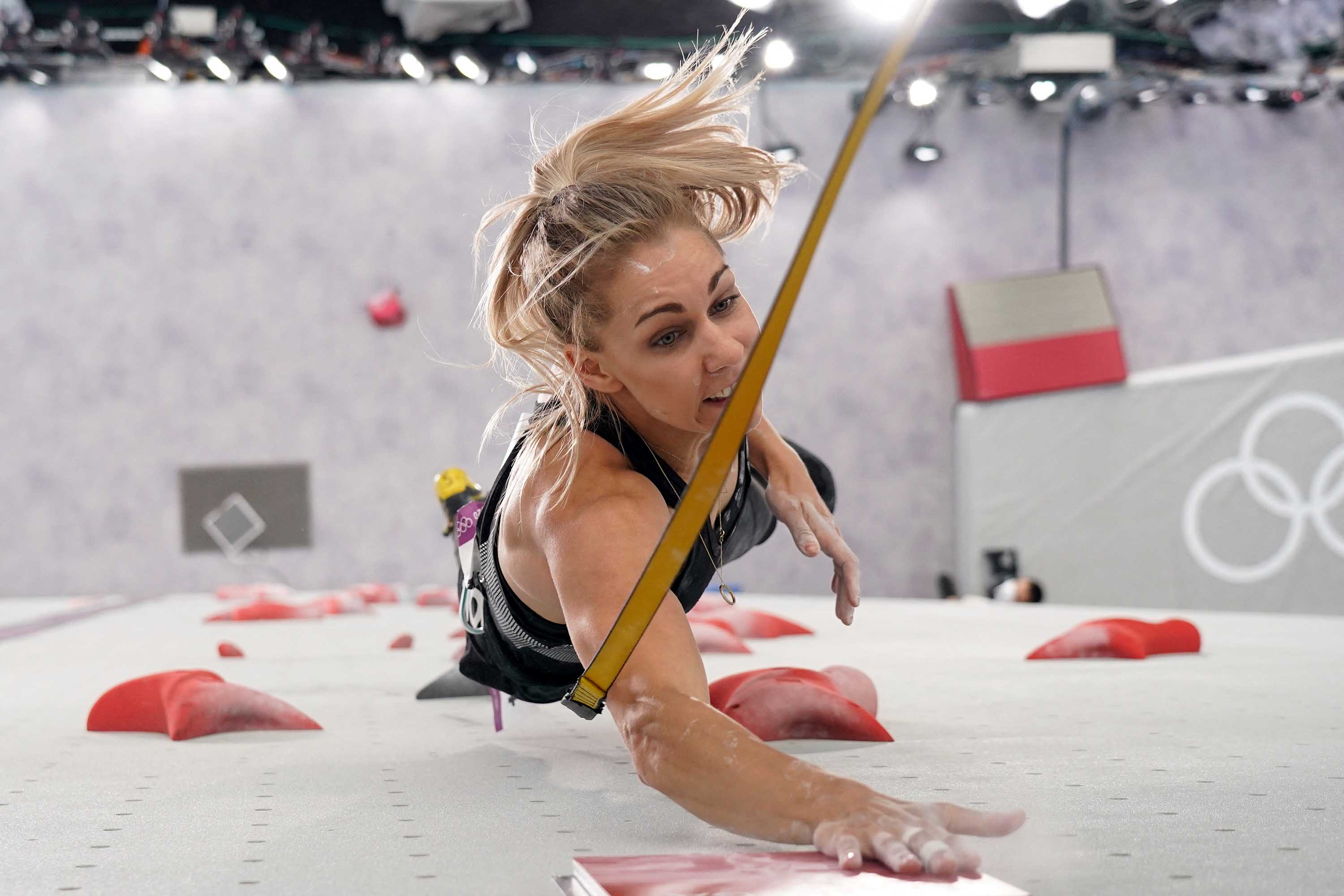 Poland's Aleksandra Miroslaw competes in the women's sport climbing speed final on August 6.