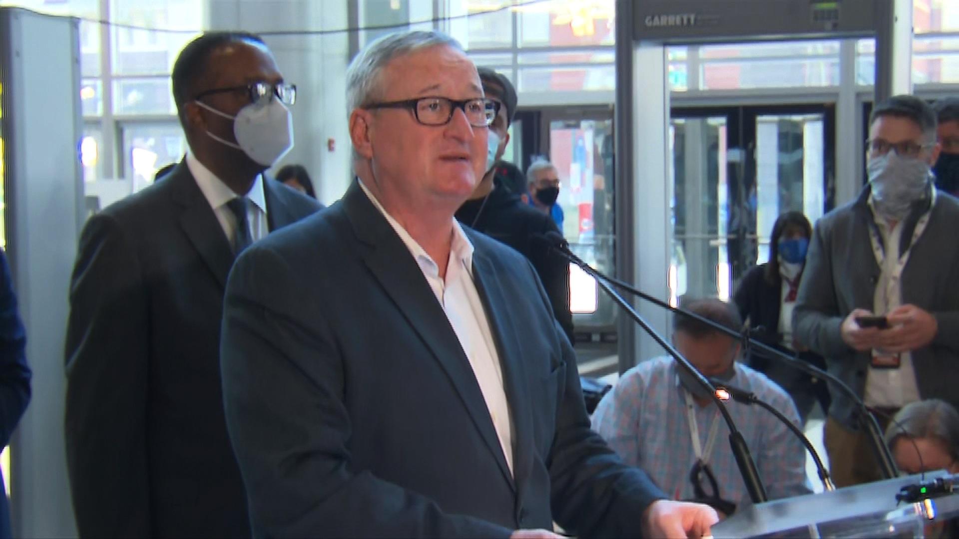 Philadelphia Mayor Jim Kenney speaks during a press conference in Philadelphia on November 6.