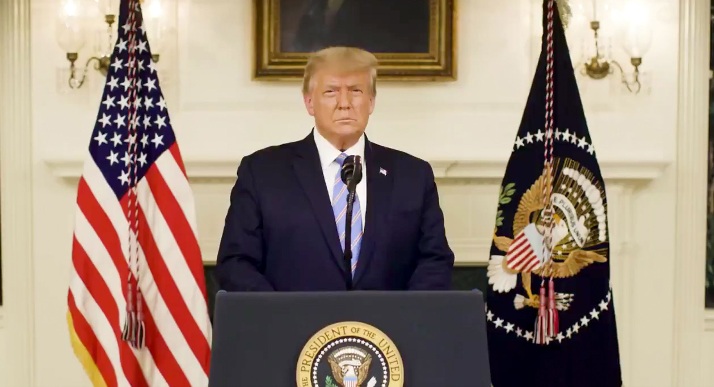 President Donald Trump addresses the violence at the US Capitol in a recorded statement released via his Twitter account on January 7.