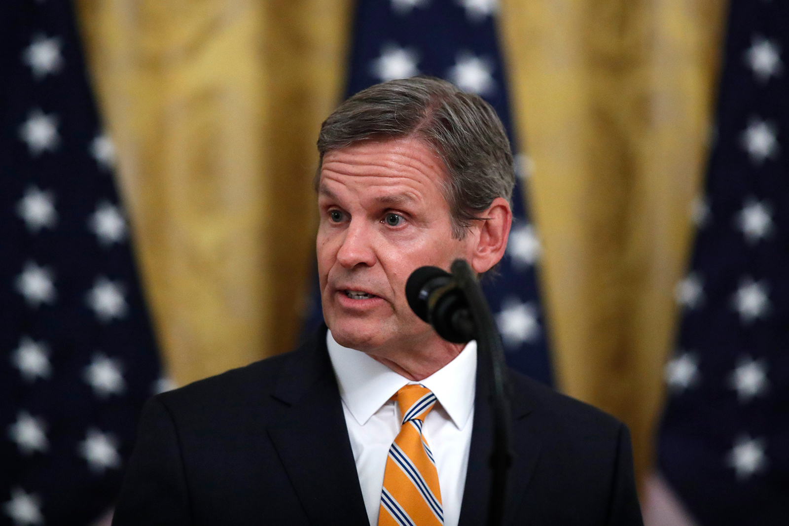 Tennessee Gov. Bill Lee speaks in the East Room of the White House  in Washington, DC, on April 30.