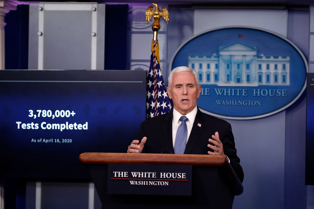 Vice President Mike Pence speaks about the coronavirus in the White House on Friday, April 17, in Washington.