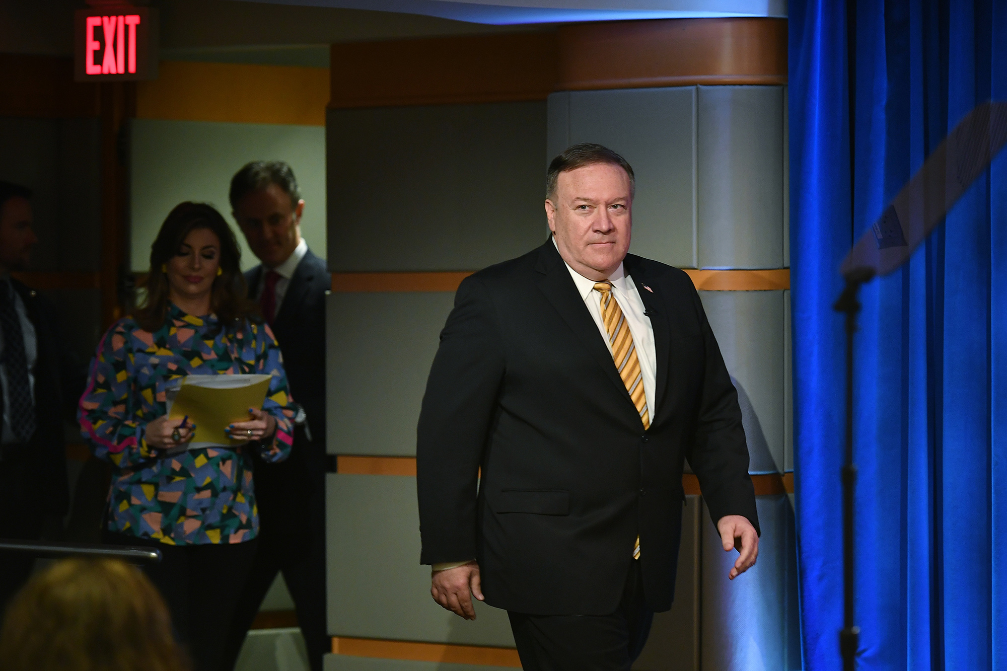 Secretary of State Mike Pompeo arrives for a press conference at the State Department in Washington, DC on June 24.