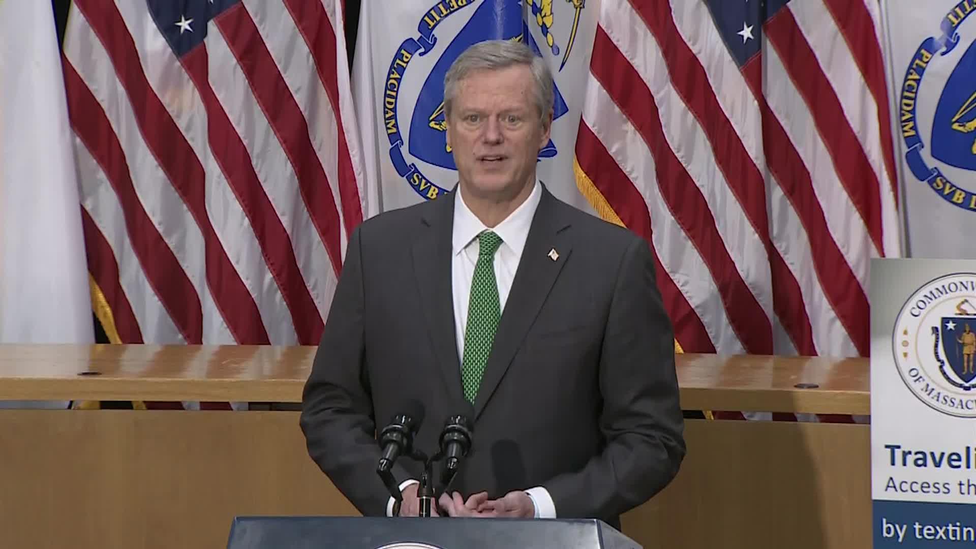 Massachusetts Gov. Charles Baker speaks during a press conference in Boston on September 24.