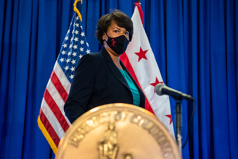 D.C. Mayor Muriel Bowser during a news conference on the Covid-19 situation in the District at Judiciary Square on Monday, September 28, 2020.