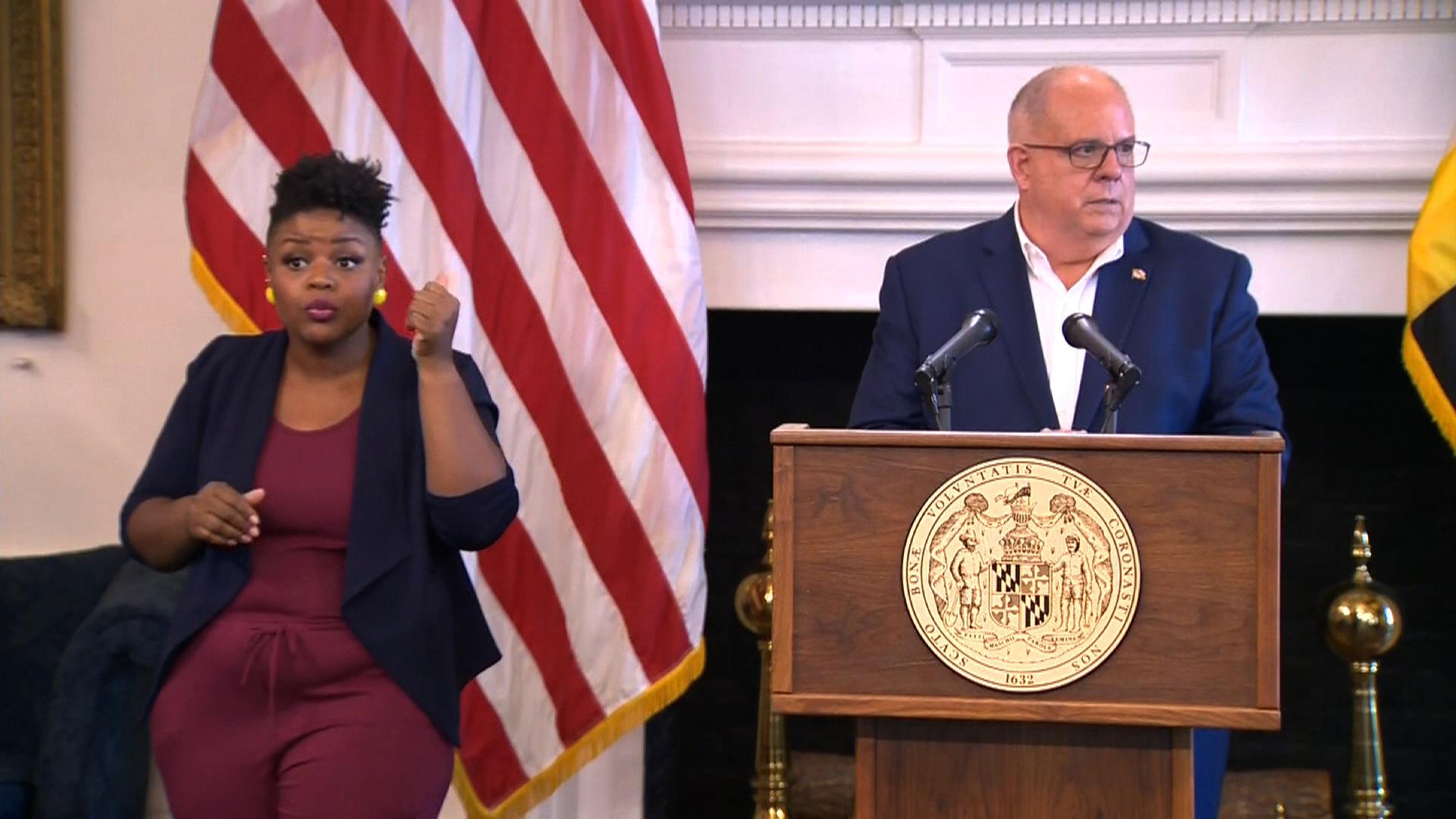 Maryland Gov. Larry Hogan speaks during a press conference on July 29.