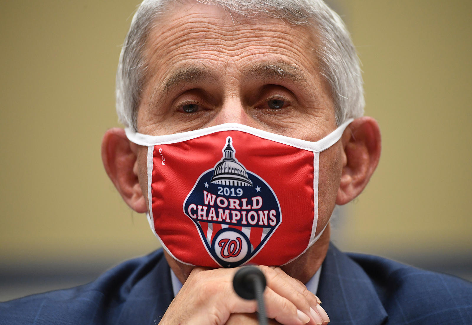 Dr. Anthony Fauci, director of the National Institute for Allergy and Infectious Diseases, listens during a House Subcommittee on the Coronavirus crisis hearing, on Friday, July 31, in Washington.