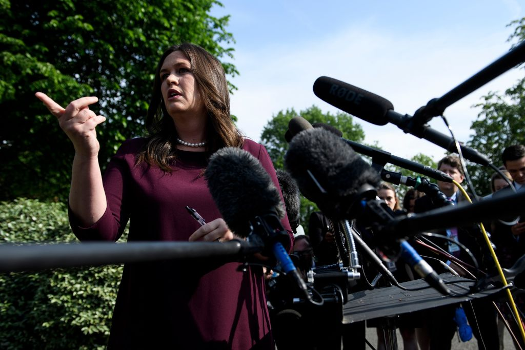 White House press secretary Sarah Sanders speaks to reporters after appearing on Fox News White House May 2, 2019, in Washington, DC.