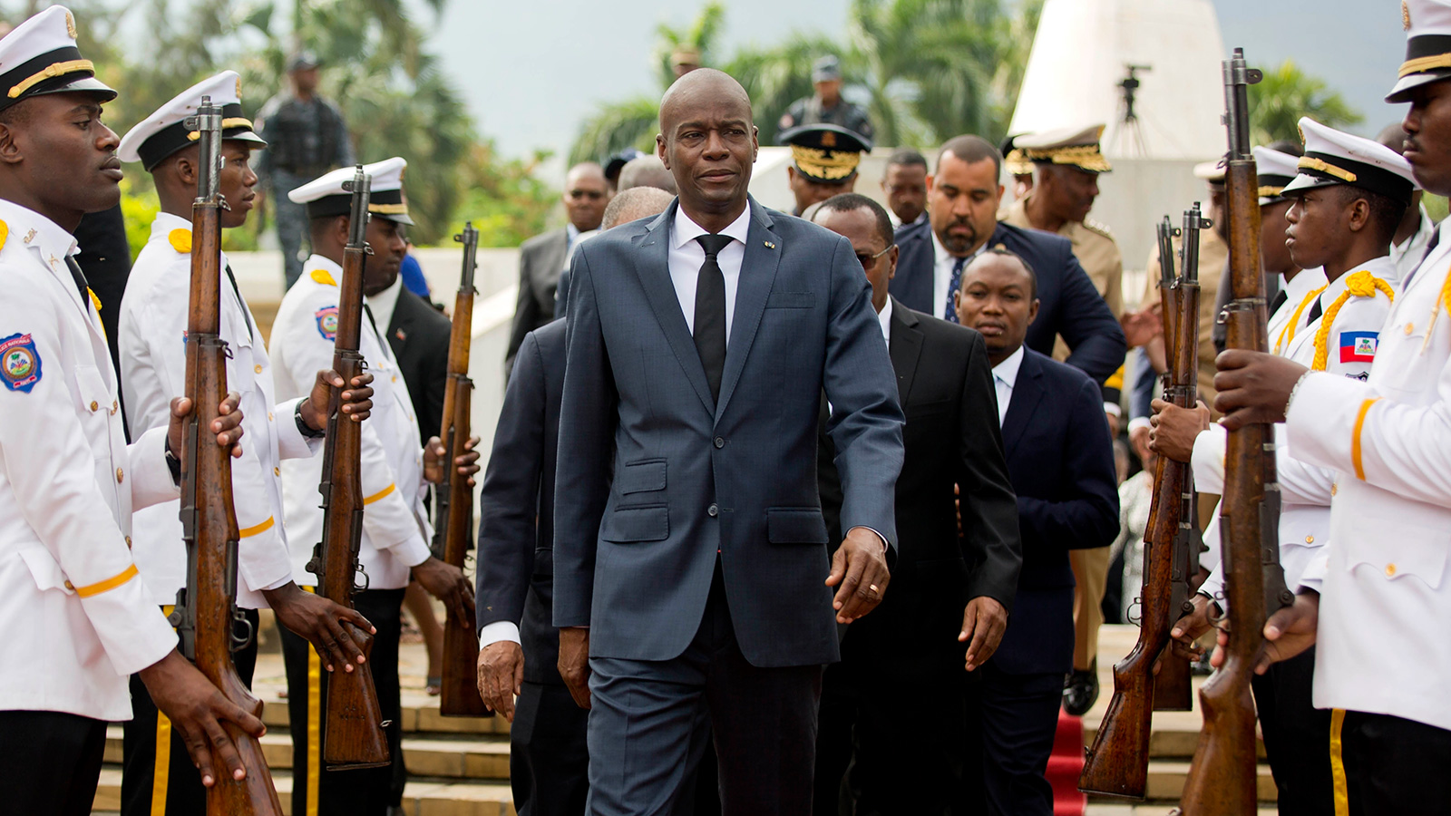 In this April 7, 2018, file photo, Haiti's President Jovenel Moise leaves after a ceremony marking the 215th anniversary of revolutionary hero Toussaint Louverture's death, at the National Pantheon museum in Port-au-Prince, Haiti.