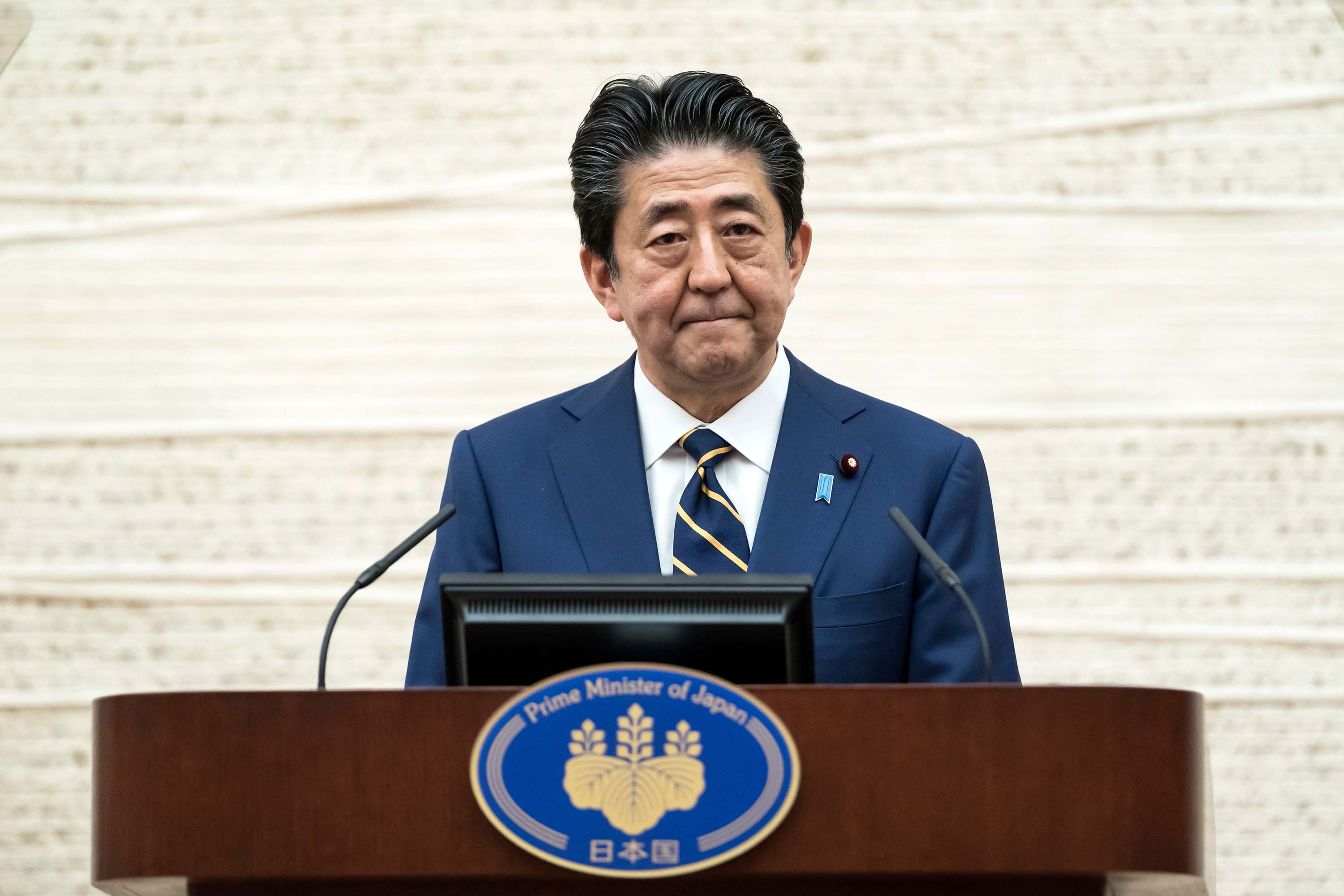 Japan's Prime Minister Shinzo Abe speaks during a press conference in Tokyo on April 7.