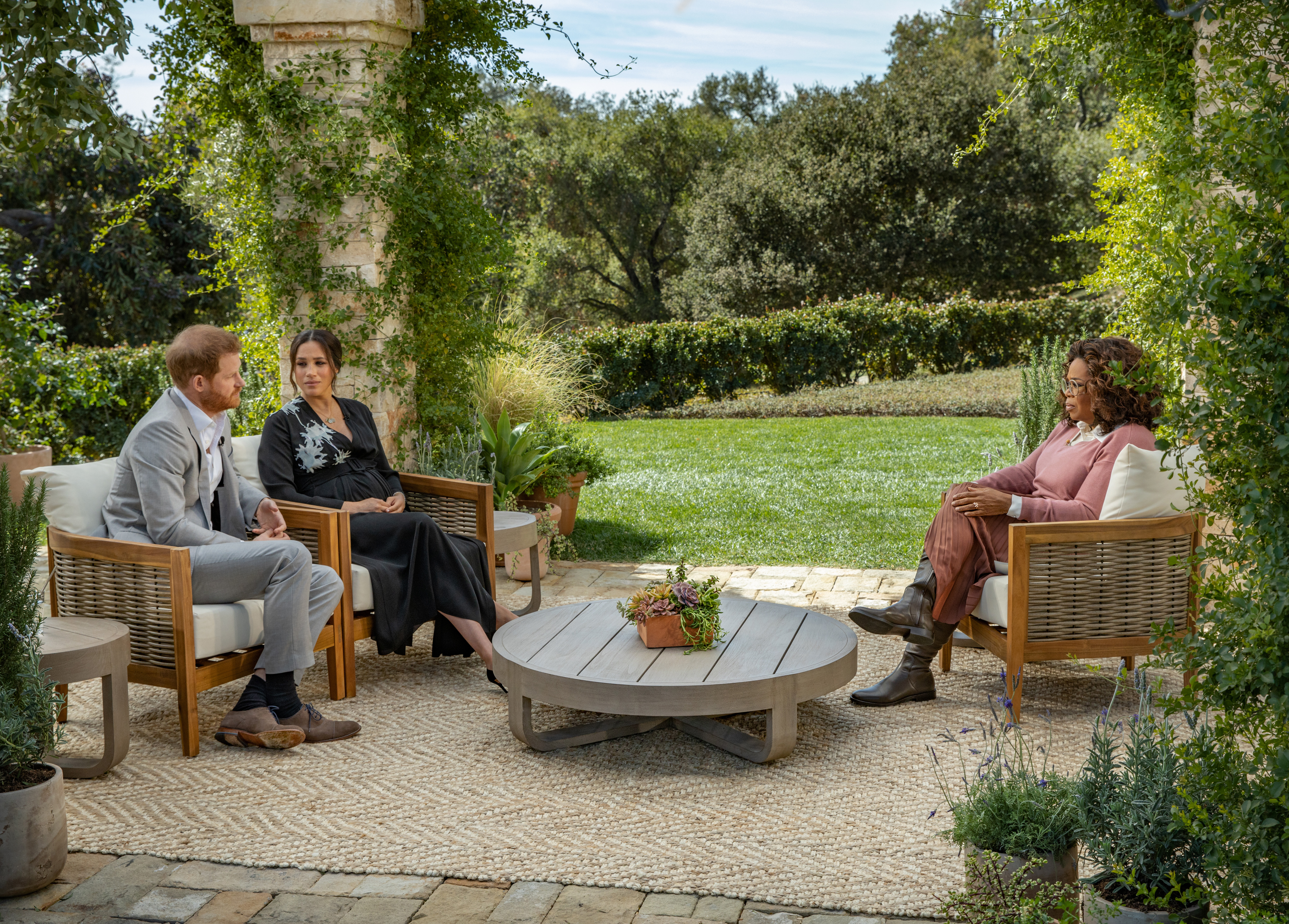 In this handout image released on March 5, Oprah Winfrey interviews Prince Harry and Meghan Markle.