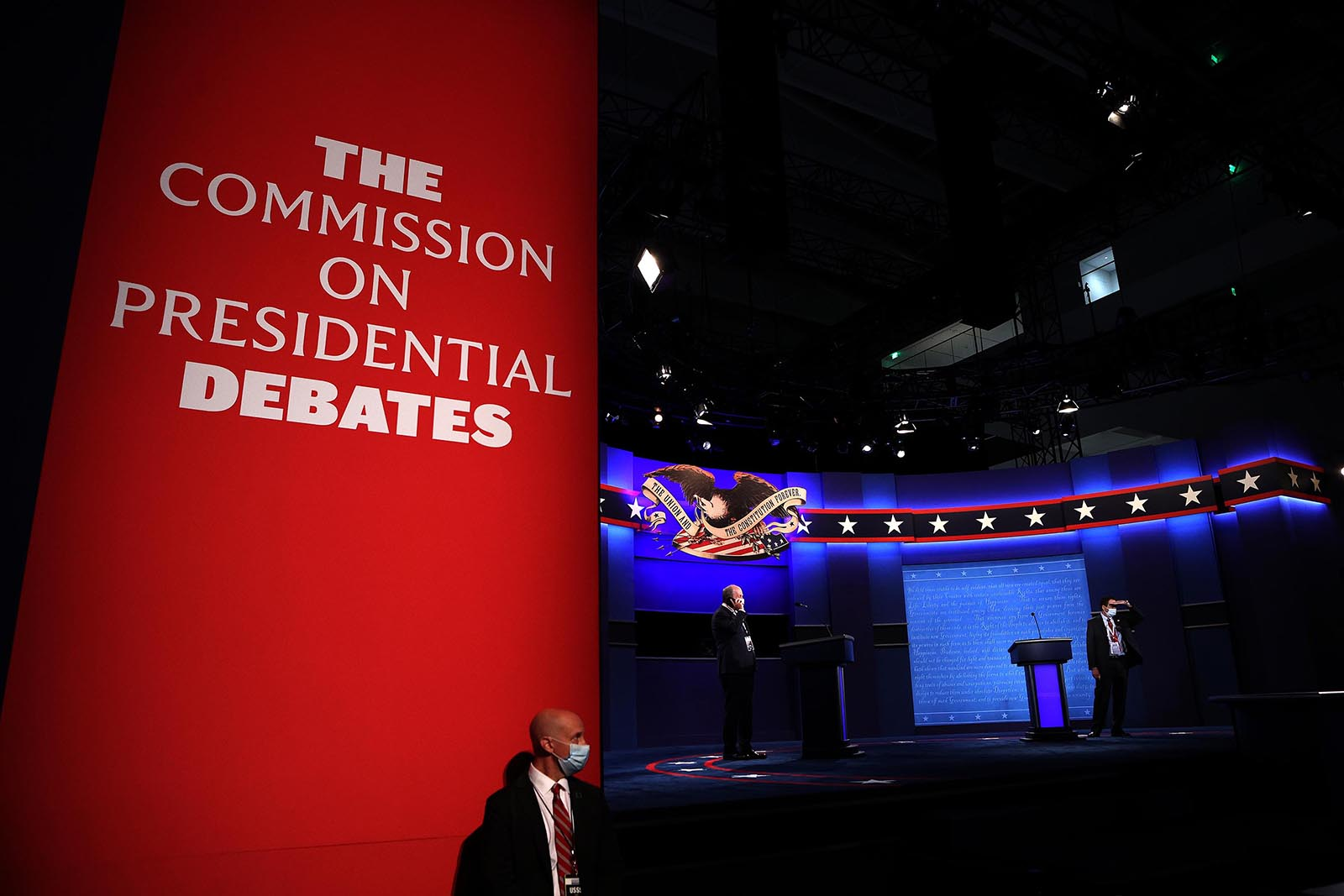 The debate stage is set for President Donald Trump and Democratic presidential nominee Joe Biden to participate in the first presidential debate at the Health Education Campus of Case Western Reserve University on September 29 in Cleveland, Ohio.