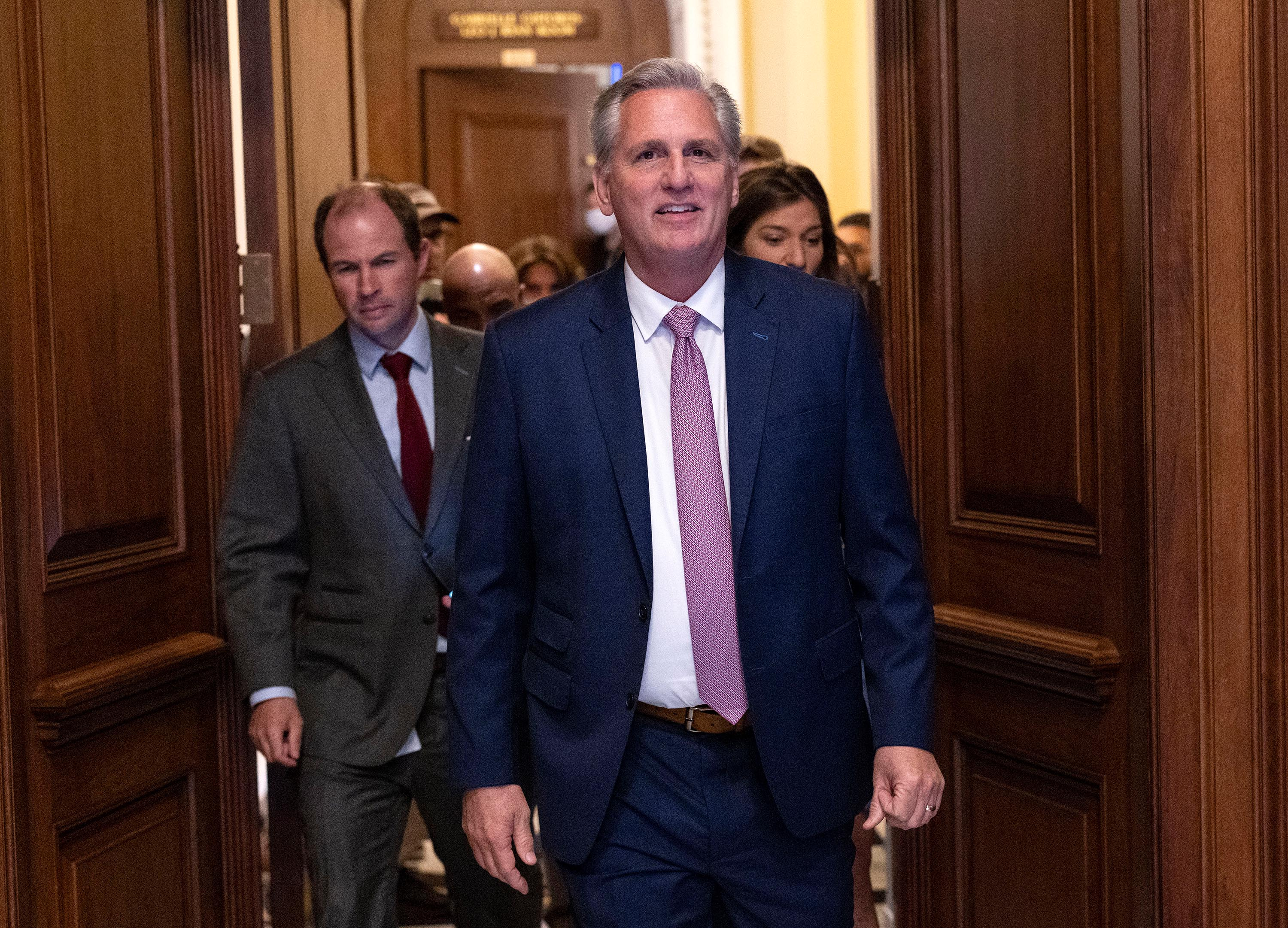 House Minority LeaderKevin McCarthy leaves the House Chambers after a vote on creating a January 6th Committee at the U.S. Capitol on June 30.