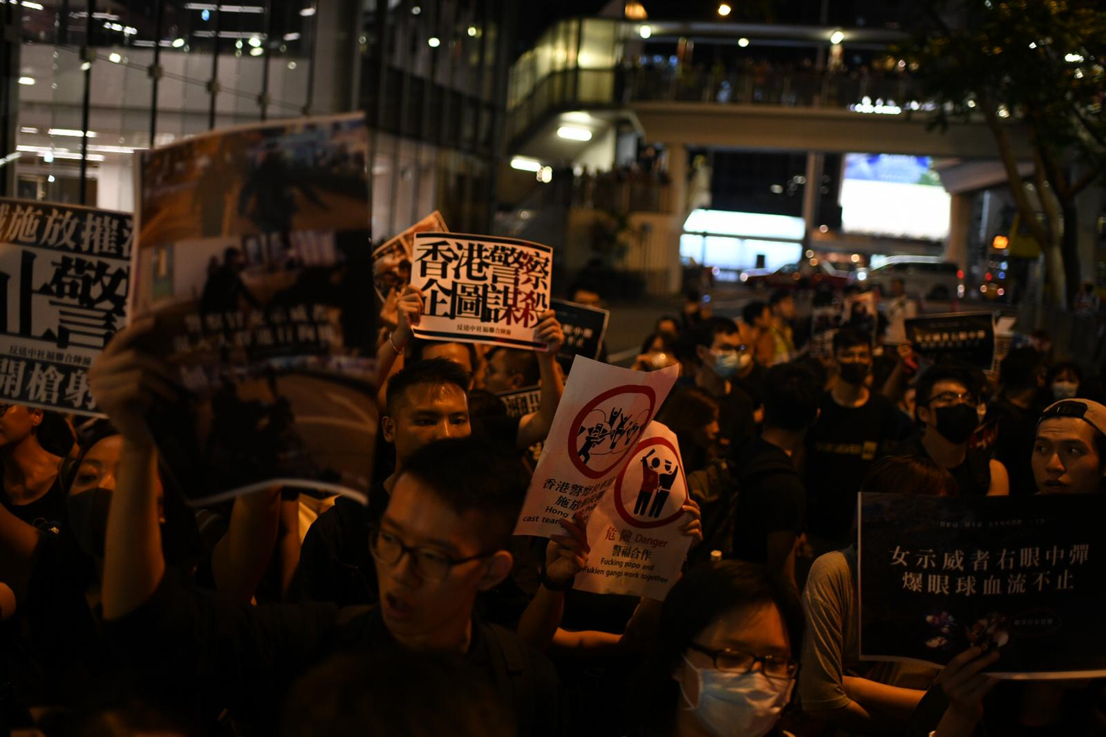 Crowds are gathering in Wan Chai district after a sit-in at the airport earlier today.
