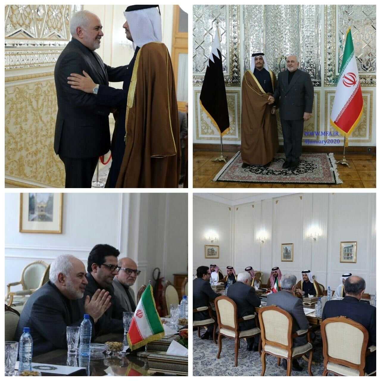 Photos released by Iran's state news agency IRNA show the meeting between Qatari and Iranian officials.