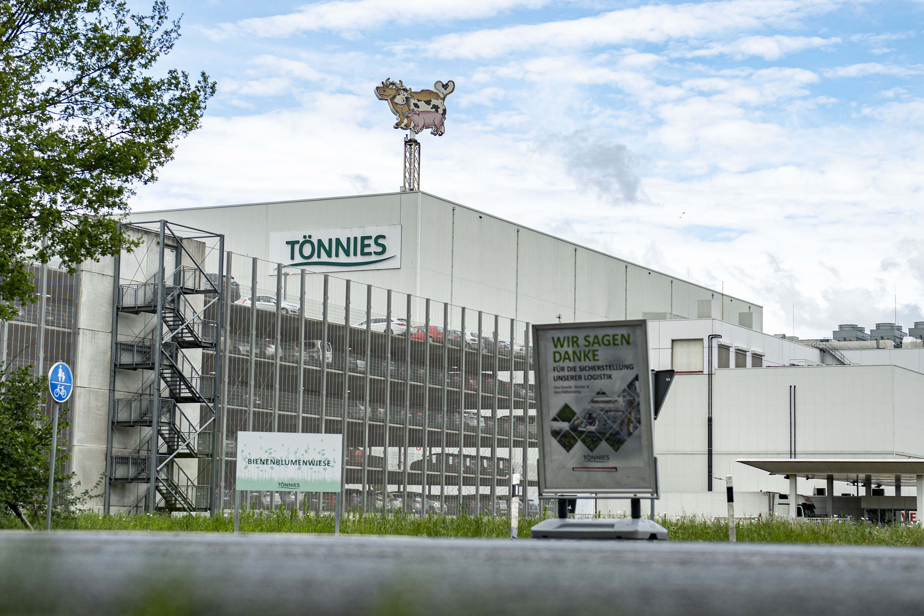 The exterior of the Tönnies meat factory in Rheda-Wiedenbrück, Germany, is shown on May 11.