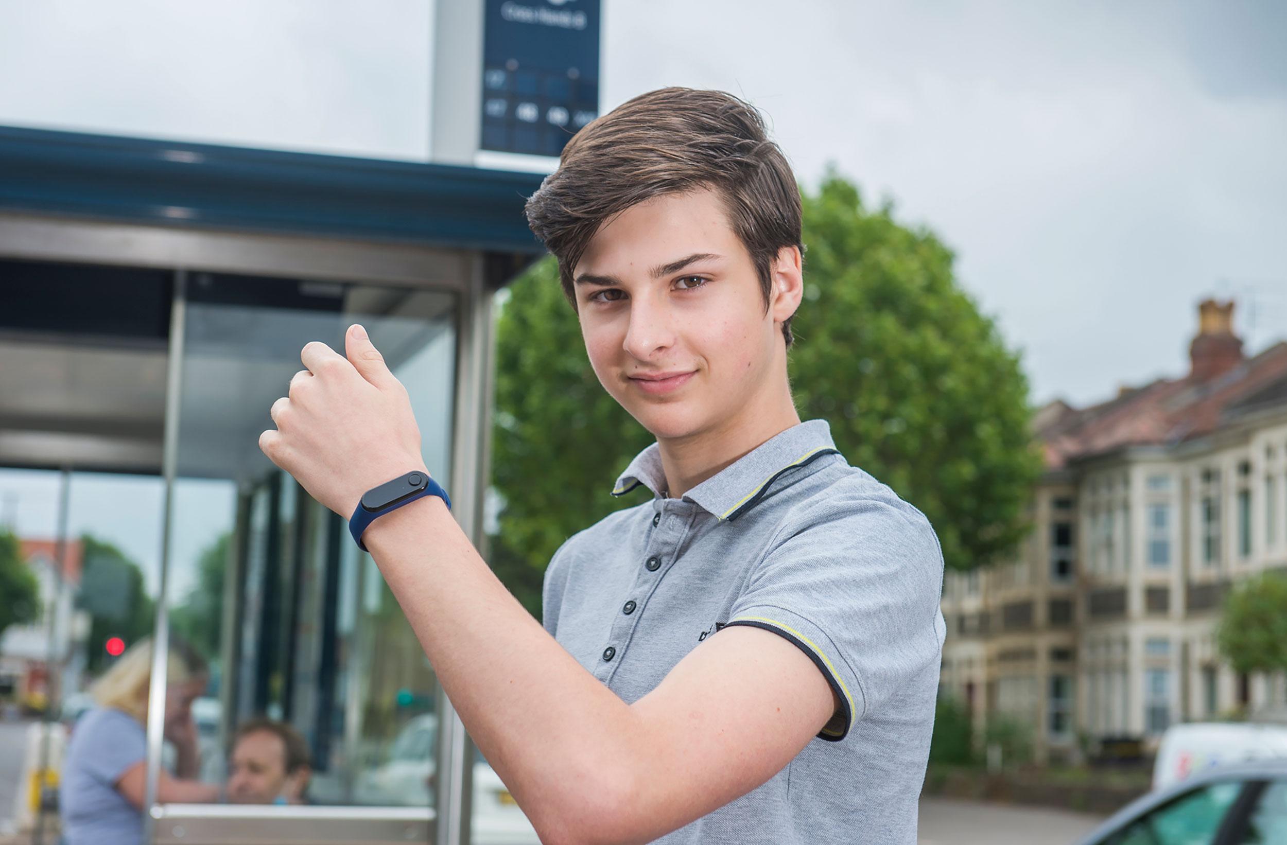 Max Melia, 15, wearing his Vybpro watch.