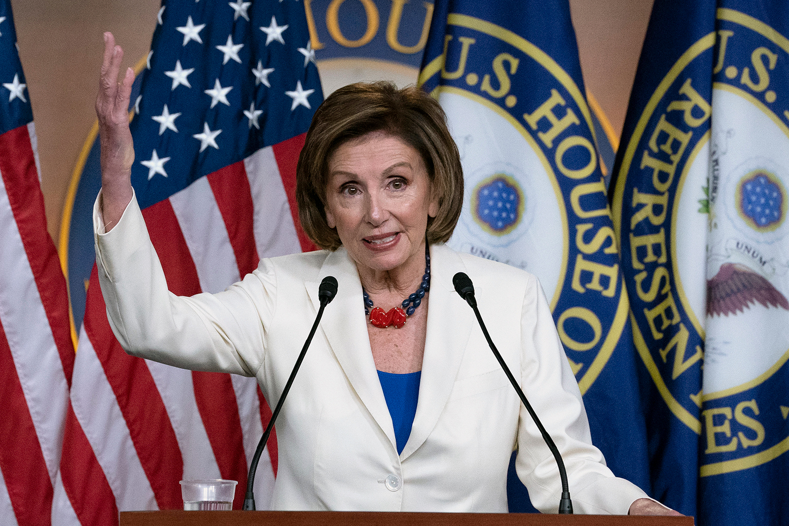 Speaker of the House Nancy Pelosi, D-Calif., speaks during a news conference on Capitol Hill in Washington, Thursday, May 20.