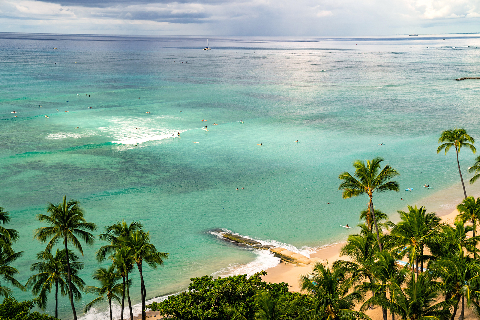 The southern shore of the island of Oahu is seen on October 22, in Honolulu.