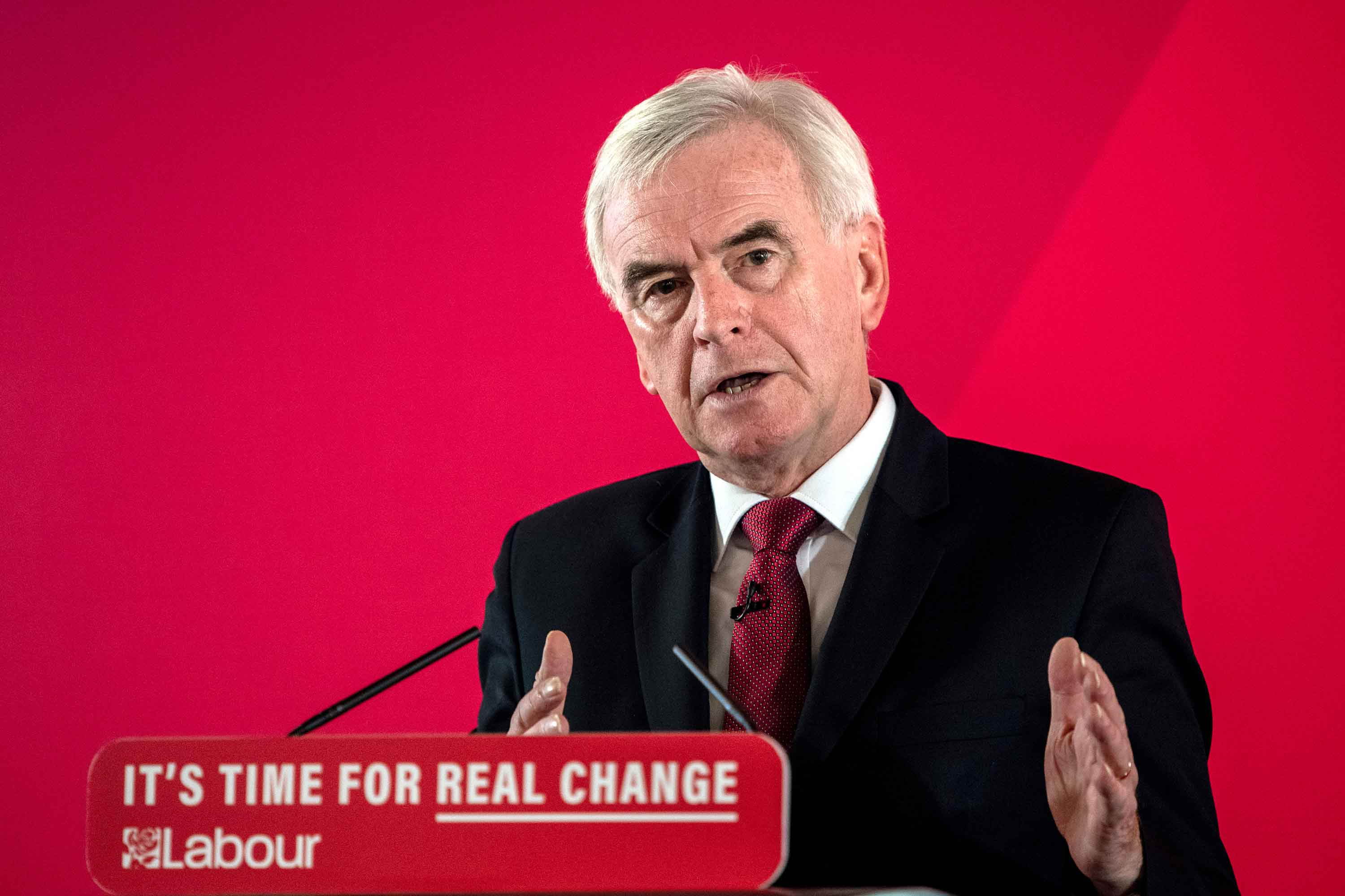 Shadow Chancellor of the Exchequer, John McDonnell, speaks at a press conference on December 9 in London. Photo: Chris J Ratcliffe/Getty Images