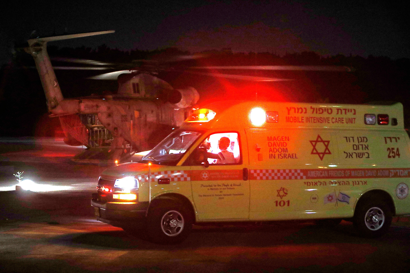 An Israeli military helicopter evacuates injured Jewish pilgrims from Ziv hospital in the Israeli northern city of Safed to the central Israel hospitals.