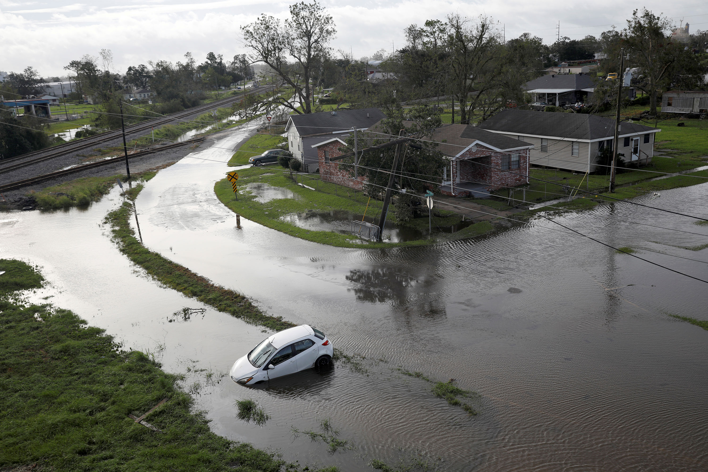 Flooded streets are seen in Kenner, Louisiana, on the morning of August 30.